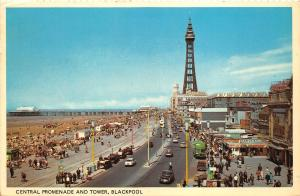 B89105 central promenade and tower blackpool car voiture  uk  14x9cm
