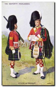 Old Postcard The Seaforth Highlanders Officer and Army Sergeant
