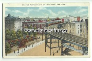 ft1363 - USA - New York - Elevated Railroad Curve at 110th Street - postcard