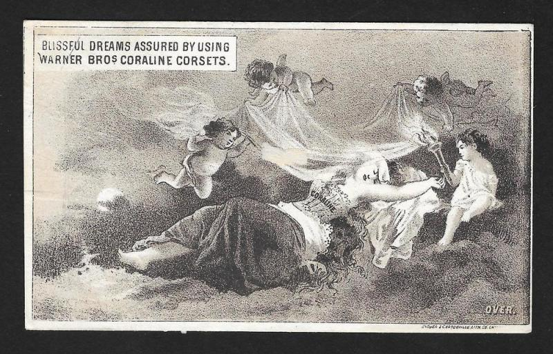 VICTORIAN TRADE CARD Coraline Corsets Cupids