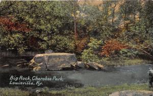 Louisville Kentucky~Big Rock @ Cherokee Park~Men Standing by Stream~c1910 PC