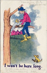 Comic Man Cutting Tree Branch Saw Humour Dog 1906 RM Chicago Postcard F53 *as is