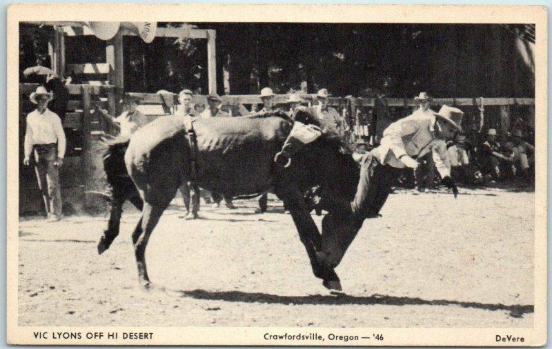 1946 Crawfordsville, Oregon RODEO Postcard VIC LYONS Off Hi Desert - De Vere