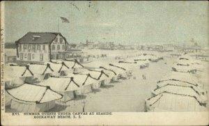 Rockaway Beach Long Island NY Tents at Seaside GLITTER c1905 Postcard