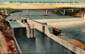 Minnesota Minneapolis U S Government Dam and Locks and Ford Bridge Curteich