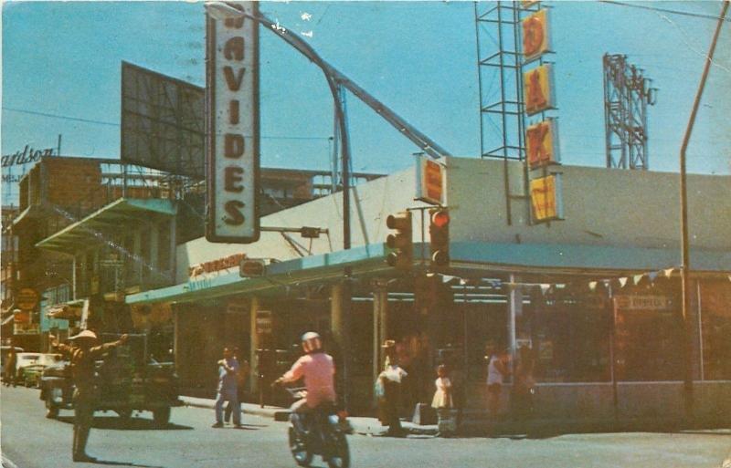 Nuevo Laredo Tamps Mexico~Street Scene~Policeman Directs Trafftc~Motorcycle~1975
