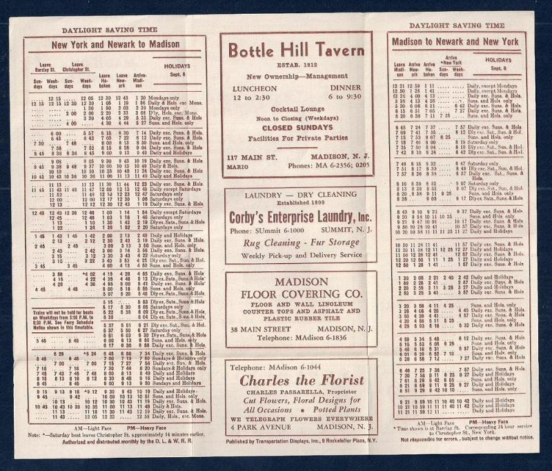 LACKAWANNA Railroad Timetable Newark NJ to Madison NY c1948