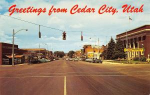 Cedar City Utah~Main Street Traffic Lights~Hotel~Stores~Cedar Theater~1950s Cars