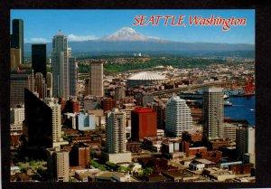 WA Skyline Seattle Washington State Elliott Bay Mt Rainier Postcard