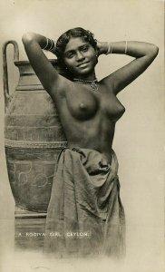 ceylon, Native Nude Rodiya Woman with Large Vase Pottery (1947) RPPC Postcard
