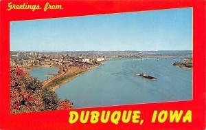Dubuque Iowa~Birdseye View~Riverfront Railroad Tracks~Illinois Bridge~Ship~1960s