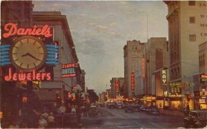 Automobiles Sacramento California Roberts Street Night Neon Postcard 20-2707