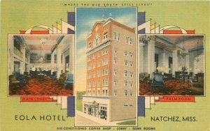 Eola Hotel roadside linen Natchez Mississippi Postcard MWM 12799