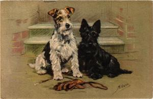 CPA AK Fox terrier and Scotish terrier DOGS (727242)