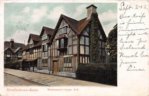 Shakespeare's House, Stratford-On-Avon, England, Early Postcard, Used in 1903