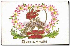 Old Postcard Fantasy Flowers Birds