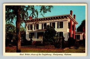 Montgomery AL, First Southern White House, Museum, Chrome Alabama Postcard