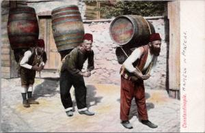 Constantinople Istanbul Workers Carrying Barrels Unused Antique Postcard E18