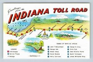 Indiana Toll Road Service Stations Plaza Greetings Lake Michigan Chrome Postcard