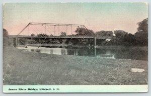 Mitchell South Dakota~Automobile on Top~James River Thru Truss Bridge~c1912