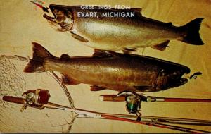 Michigan Greetings From Evart Silver Salmon Fishing Catch