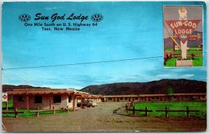 Taos, New Mexico Postcard SUN GOD LODGE Motel Highway 64 Roadside c1960s Chrome