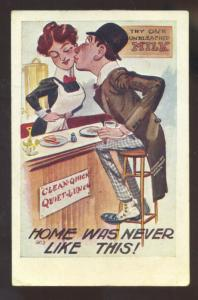 HOME WAS NEVER LIKE THIS RESTAURANT WAITRESS VINTAGE COMIC POSTCARD