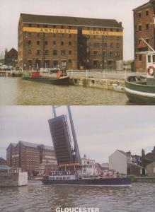 Gloucester Antiques Centre & Queen Boadicea Ship At Canal 2x Postcard s