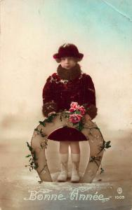 Bonne Annee Horseshoe Luck Girl Holding Flowers Winter Happy New Year Postcard
