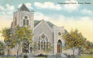 Kiowa Kansas~Congregational Church~Stained Glass Windows~1913 Postcard