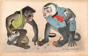 Two Apes Monkeys Gambling Dice Signed L. Meggendorfer Postcard