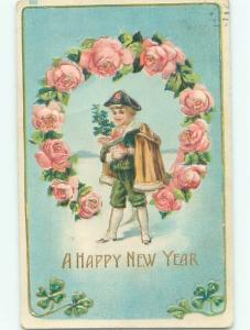 Pre-Linen New Year BOY IN RING OF ROSE FLOWERS AB2646