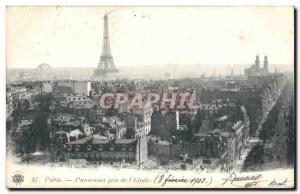 Paris Old Postcard panorama taken from & # 39Etoile Eiffel Tower