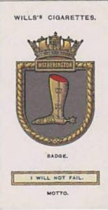 Wills Vintage Cigarette Card Ships Badges No. 39 Witherington 1925