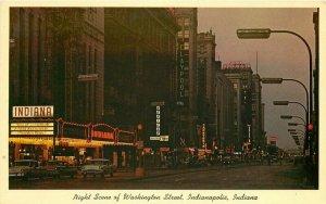 Indianapolis Indiana Night Neon Theater Marquee Washington Postcard Teich 11688