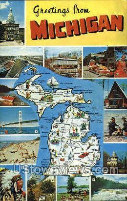 Greetings from michigan map misc mi unused hippostcard greetings from michigan map misc mi unused m4hsunfo