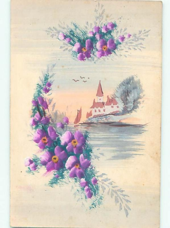 Pre-1907 Handmade One-Of-A-Kind Postcard CHURCH ON WATER WITH FLOWERS AC6561