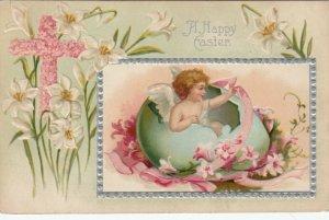 EASTER ; A Happy Easter, Angel in eggshell, flowers, cross of flowers, 1900-10s