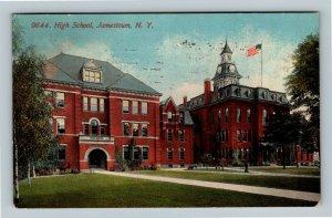 Jamestown NY, High School Building, Clock Tower Vintage New York c1915 Postcard