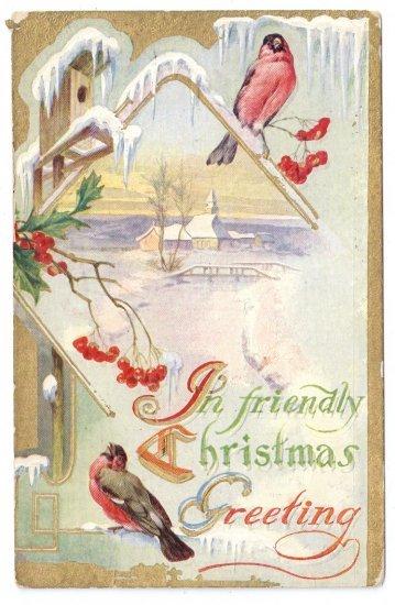 Christmas Bird Robins Icicles Birdhouse Snow Church Scene Embossed Gilt Postcard