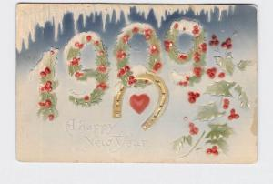 ANTIQUE POSTCARD NEW YEARS 1908 HOLLY SPRIGS HORSESHOE HEART ICICLE AIRBRUSHED E