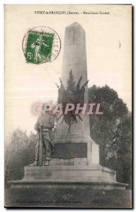 Old Postcard Vitry the Francoise Marne Monument Carnot