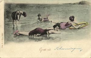 netherlands, SCHEVENINGEN, Ladies in Bathing Suit on the Beach (1902)