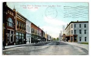 1909 Looking West on Barraque Street, Pine Bluff, AR Postcard *4W