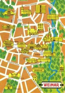 Vintage 1978 WEIMAR East Germany, Street, Map Buildings Postcard ES3