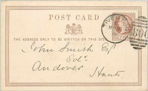 Entier Postal Stationery Postal UK Tiverton Great Britain in 1876 to Andover