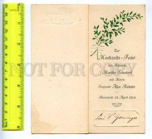 241860 GERMANY wedding 1914 year MENU embossed folding card