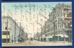 Sherman Texas tx North Travis Street 1909 old postcard