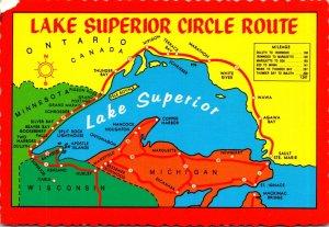 Map Of Lake Superior Circle Route 1047 Miles Along Shores Of Lake Superior