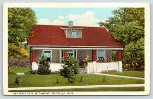 Tahlequah Oklahoma~W W Dawkins Residence~Flowers on Porch~1920s Postcard
